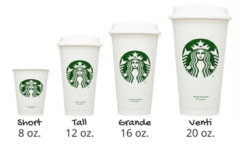 Starbucks size cups, short, tall, grande, venti